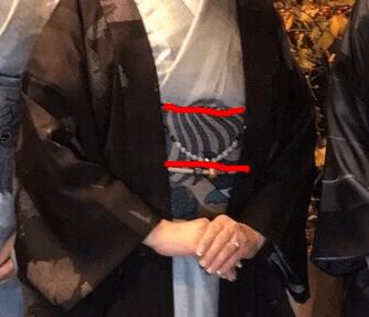 羽織紐は、帯の上線から帯締めの間のちょうど中心辺りに来るように調節