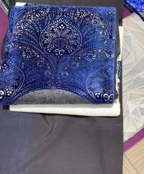 ビロード箔袋帯と大島紬