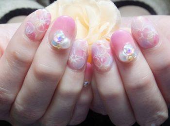 着物ネイル花柄ピンク色