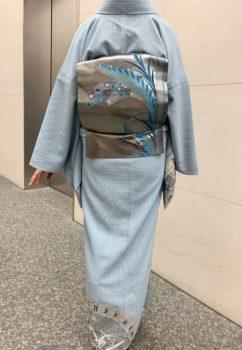 コルトレイクの麻の訪問着に引箔の袋帯孔雀の羽根