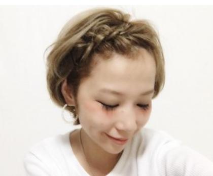前髪編み込み着物入学式ショート母親