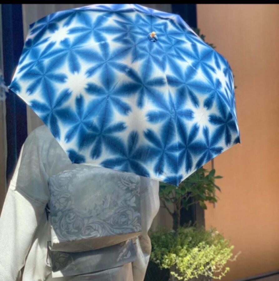 着物に合うおしゃれな日傘!①染体験の白×藍色をキットで手作【絞り染め京都いづつ】