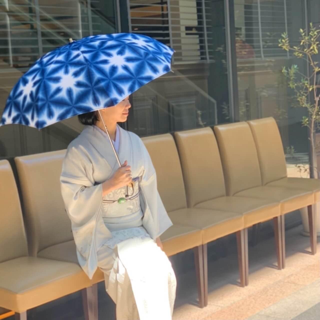 着物日傘藍染絞り染め体験おしゃれ